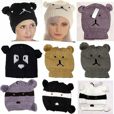 Job Lot Of 20 Beanie Panda Racoon Bear Pompom Animal Hats New