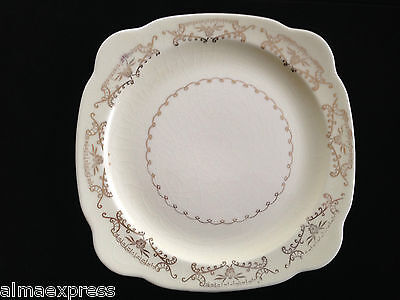 Paden City Pottery PCP212 Square Salad Plate Gold Floral, Scrolls,Squiggly Verge