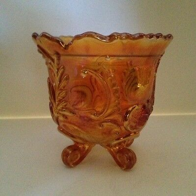 Imperial Carnival Glass Footed Marigold Candy Dish