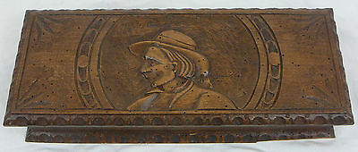 Antique french  wood box carved breton 20th