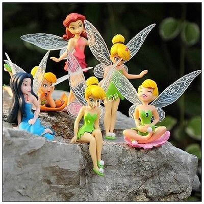 "Disney Tinker Bell Set Of 6 Large 4"" Birthday Cake Topper Figurines Toy Set USA"