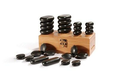 30 Piece Foot Massage Stone Set Basalt Hot Rocks Stones With Bamboo Box