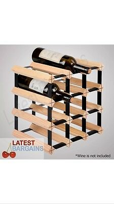 12 Bottle Timber Wine Rack - Complete Wooden Wine Storage System Fast Free Shipp