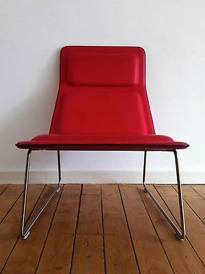Jasper Morrison Low Pad chair (1999) Cappellini, red leather, lounge chair