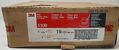 "New 3M 5100 Red Buffer Pads 15""  CASE OF 5"