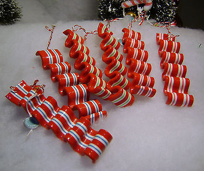 Set of 6 - Martha Stewart  Peppermint Ribbon Candy  Christmas Tree Ornaments