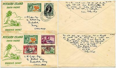 PITCAIRN ISLAND 1953 ILLUSTRATED COVERS + MESSAGES re CONDITIONS on ISLAND