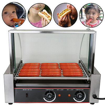 Commercial 24 Hotdog Hot Dog 9 Roller Grill Cooker Machine w/Cover CE