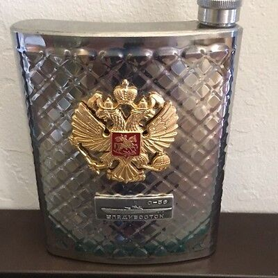 Russian Flask with Double Headed Eagle emblem. From Vladivostok.