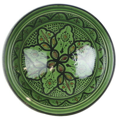 Moroccan Handmade Ceramic Serving Plate in Green - 21cm ! Pottery