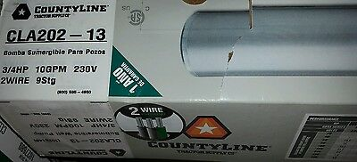"""County Line Deep Well Pump, 2 Wire Series, 4"""", 3/4Hp, 10Gpm, 230V, #cla 202-13"""