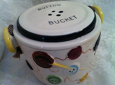 Vintage Button Bucket Fred Roberts San Francisco Ceramic W/ Handle 1950's 1960's