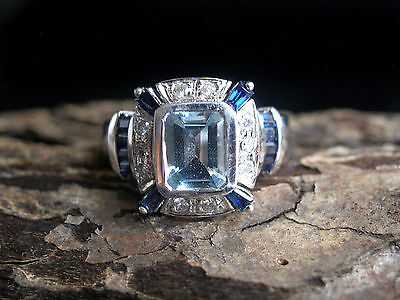 Contemporary 14K White Gold, Topaz, Diamond, And Sapphire Ring, Ornate , Size 8