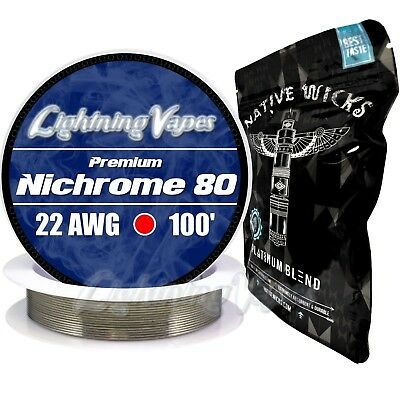 Nichrome 80 22 Gauge AWG 100' + Native Wicks Platinum - Bag of 3' - Bundle