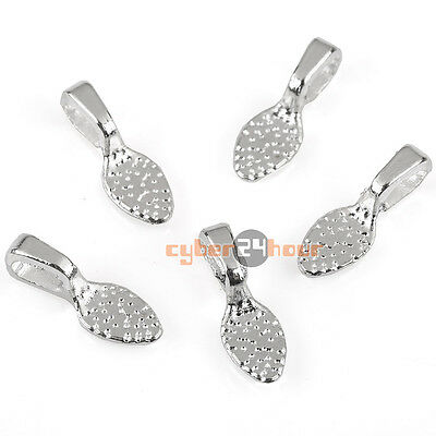 50PCS Silver Tone Oval Tear Glue on Bails Setting For Necklaces Pendant Loop