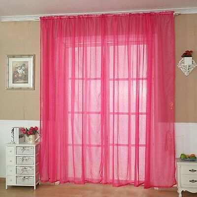 Home Solid Tulle Door Window Curtain Drape Panel Sheer Scarf Valance Decoration