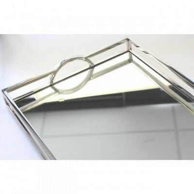 New Rectangle Mirrored Glass Arch Handle Tray Large 56cmx36cm