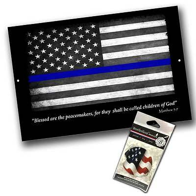 Subdued Thin Blue Line American Flag for law Enforcement 8x12 Metal Sign