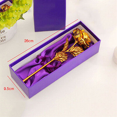 24K Gold Foil Plated Rose Romantic Valentine's Day Gift Golden Rose Flower + Box