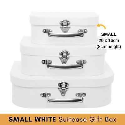 x1 SMALL - WHITE SUITCASE GIFT BOX display event prop decoupage scrapbooking