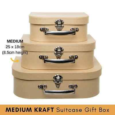 x1 MEDIUM - KRAFT SUITCASE GIFT BOX display event prop decoupage scrapbooking