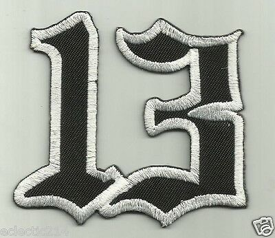 """""""LUCKY 13"""" Embroidered Patch Iron On 1950's ROCKABILLY Pin Up Punk Cherry TATTOO"""