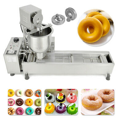 220V Commercial Automatic Donut Maker Making Machine Wide Oil Tank w/3 Sets Mold