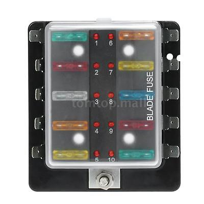 Blade Fuse Box Holder 10 Way LED Warning Light Kit for Car Boat 12V 24V New S9I0