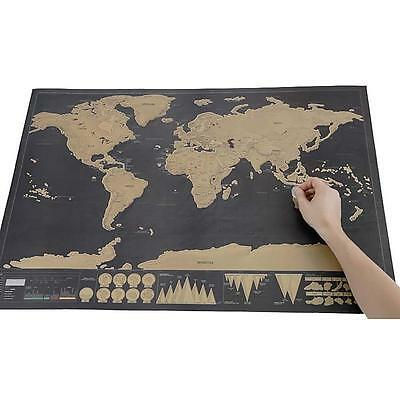 New Scratch Off World Map Deluxe Travel Edition Personalized Journal Log Gift GR