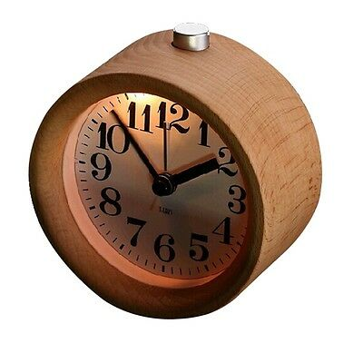 Classic Small Round Silent Table Snooze Beech Wood Alarm Clock Night Light