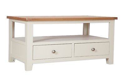 Dorset Oak TV Coffee Table Unit Solid 2 Drawer Pine in Painted French Ivory