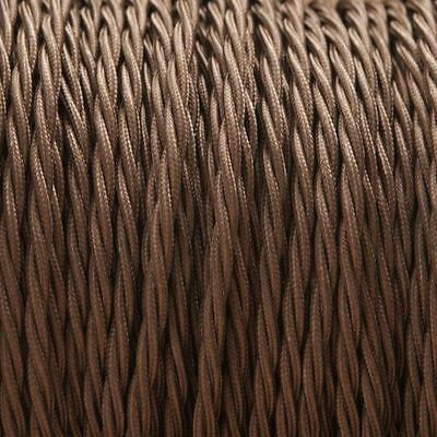 Light Brown Twisted Silk Braided Vintage Fabric Coloured Cable 2 core 0.75mm