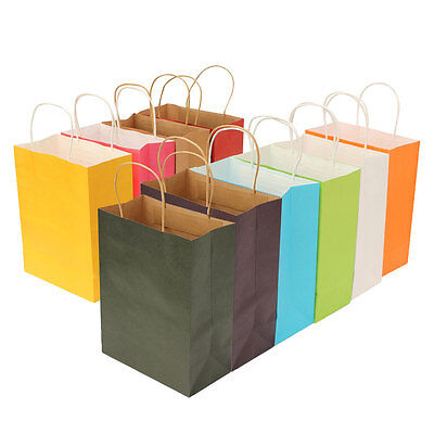 10 Color Paper Party Bags With Handle For Present Gift Birthday Wedding Party
