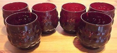 Vtg ANCHOR HOCKING Royal RUBY RED BUBBLE GLASSES SET OF 6 Roly Poly