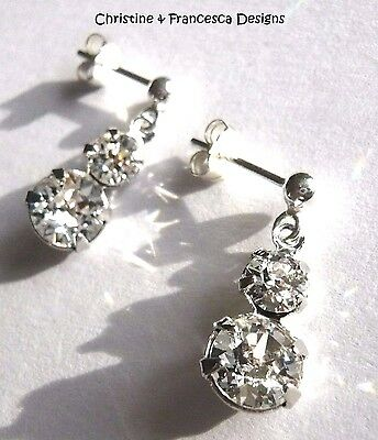 Sterling Silver CLEAR Graduated Round Crystal Stud Earrings SWAROVSKI ELEMENTS