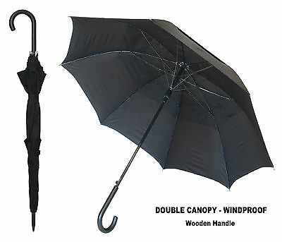 Black Double Canopy Windproof Umbrella Black Wooden Curved Handle Auto Open