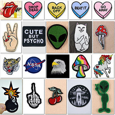 HOT Embroidered Iron On / Sew On Patches Set Badge Bag Fabric Applique Craft