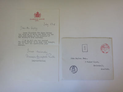 Royal Letter Queen Mother 1980 Clarence House signed by her Lady in Waiting 56