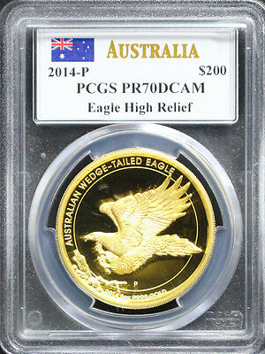 Australia 2014 $200 Wedge Tailed Eagle High Relief 2oz Gold Coin PCGS PR70