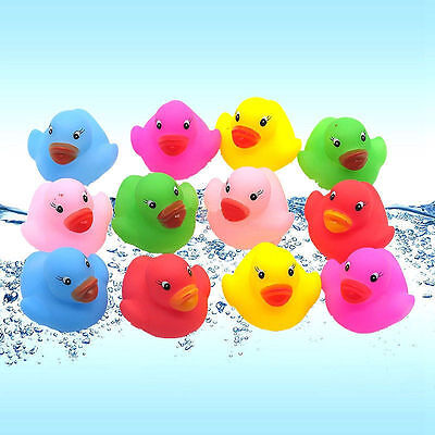20 Mini Colorful Bathtime Rubber Duck Kids Baby Bath Toy Squeaky Water Play Fun