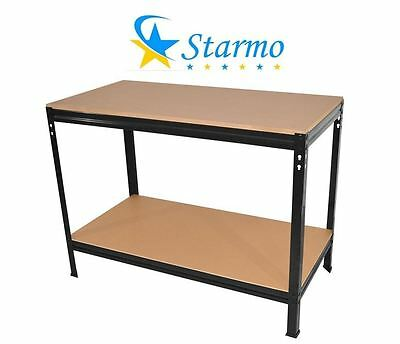 Starmo 2 Tier Black Heavy Duty Industrial Boltless Garage Workbench 90x60x90cm