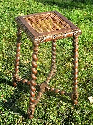 Beautiful Small Barley Twist Rush Top Wooden Side Table Pedestal Plant Stand
