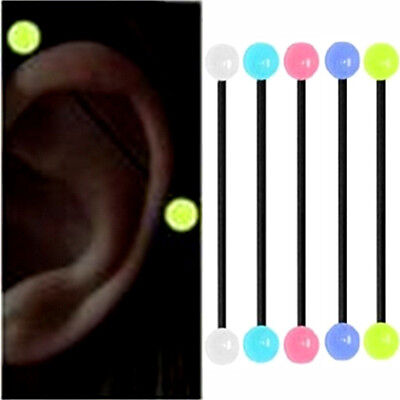 5X GLOW IN THE DARK Industrial Bar Scaffold Ear Barbell Ring PIERCING JEWELRY