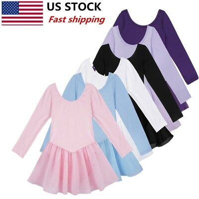 Girls Gymnastics Leotard Dress Ballet Dance Tutu Skirt Toddler Dancewear Costume