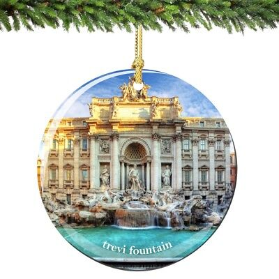 Rome Trevi Fountain Porcelain Ornament - Italy Christmas Souvenir Travel Gift