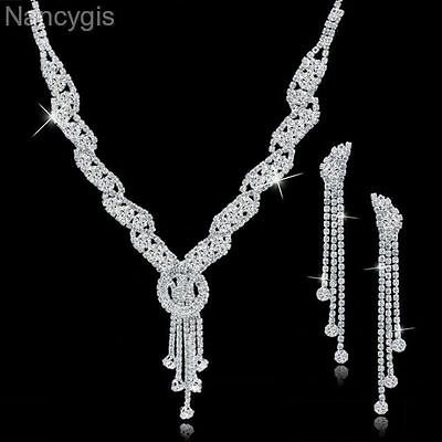 Silver Crystal Tassel Necklace and Long Earrings Bridal Wedding Jewellery Set