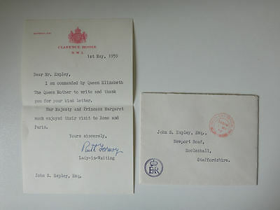 Royal Letter Queen Mother 1959 Clarence House Ruth Fermoy Lady in Waiting 70