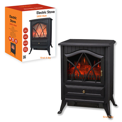 Black 2KW Log Burning Flame Effect 2000W Electric Fire Heater Fireplace Stove