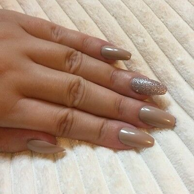 Hand Painted False Nails COFFIN Full Cover. Caramel Nude & Bronze. LE. Christmas