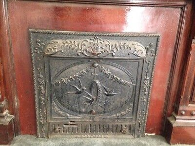 antique fireplace insert with summer cover